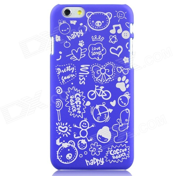 Hat-Prince Cartoon Print Protective Matte Non-slip Case Cover for IPHONE 6 PLUS 5.5 - Deep Blue iface mall glossy pc non slip tpu back case for iphone 6 plus 6s plus blue