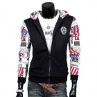 A102 Mode Herren Zeitung Pattern Cotton Blend-Hoodie Zipper Jacket - Black + White (XL)