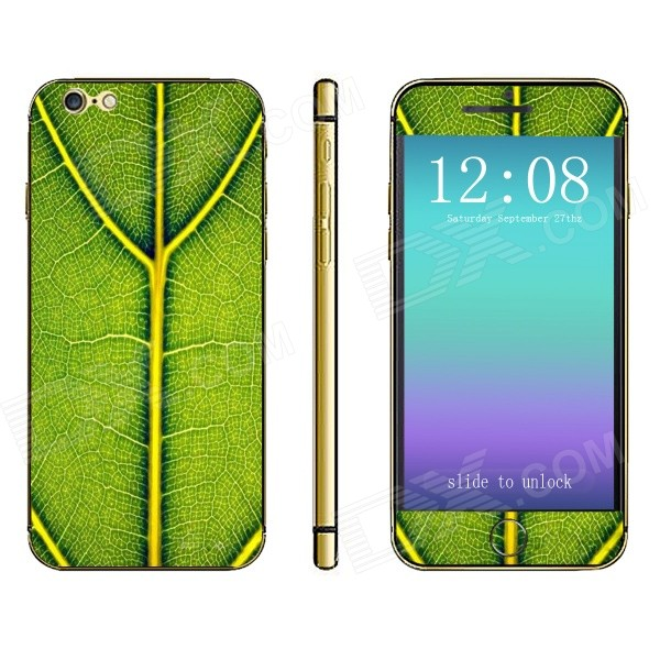 Stylish Patterned Front + Back Decorative Sticker Set for IPHONE 6 4.7 - Green