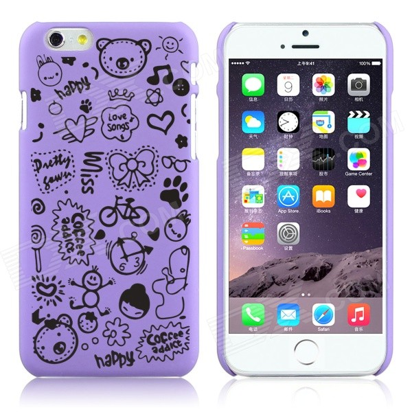 ENKAY Cartoon Print Protective Matte Non-slip Case Back Cover for IPHONE 6 - Purple small holes style protective pe back case for htc one x s720e purple