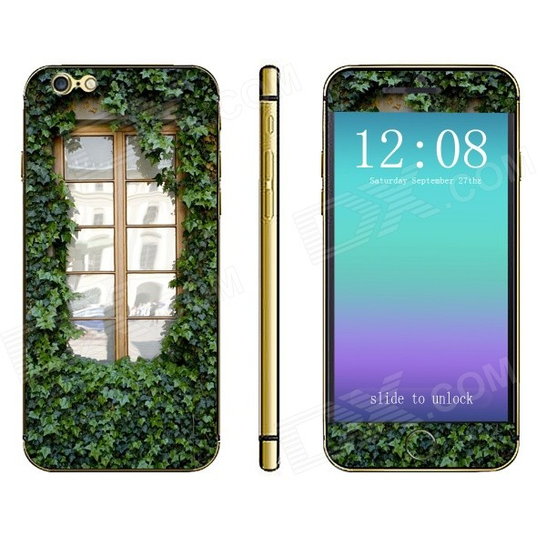 Stylish Window Pattern Front + Back Decorative Sticker Set for IPHONE 6 4.7 - Multicolored