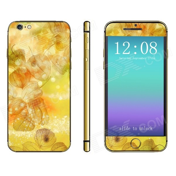 Stylish Patterned Front + Back Decorative Sticker Set for IPHONE 6 4.7 - Yellow