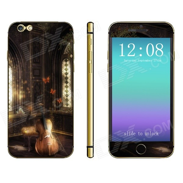 Stylish Violin Pattern Front + Back Decorative Sticker Set for IPHONE 6 4.7 - Coffee
