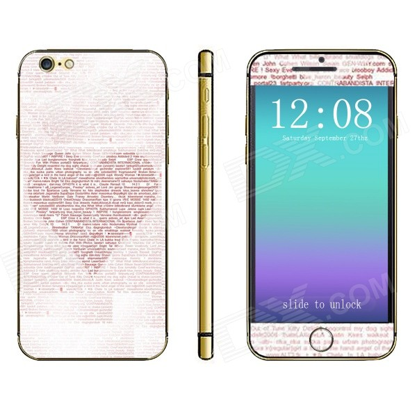 Stylish Heart Pattern Front + Back Decorative Sticker Set for IPHONE 6 4.7 - White + Pink