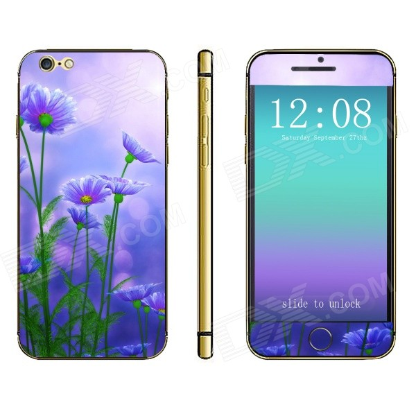 Stylish Floral Pattern Front + Back Decorative Sticker Set for IPHONE 6 4.7 - Purple + Green
