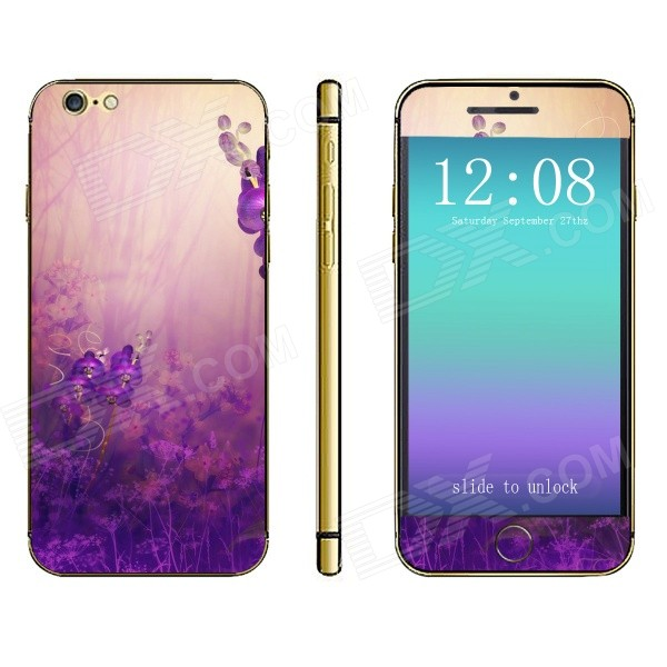 Stylish Wonderland Pattern Front + Back Decorative Sticker Set for IPHONE 6 4.7 - Purple