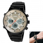 SKMEI Men's Stainless Steel Analog + Digital Quartz Wrist Watch - Black + Golden (1 x CR2025)