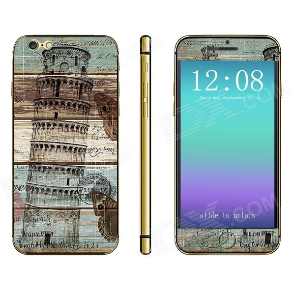 Stylish Torre di Pisa Pattern Front + Back Decorative Sticker Set for IPHONE 6 4.7 - Brown