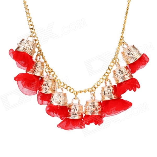eQute PPEW35C4 Cute Exaggerated Flowers Zinc Alloy Necklace for Women - Red + Golden irregular round shape zinc alloy chain pendant necklace golden