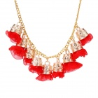 eQute PPEW35C4 Cute Exaggerated Flowers Zinc Alloy Necklace for Women - Red + Golden