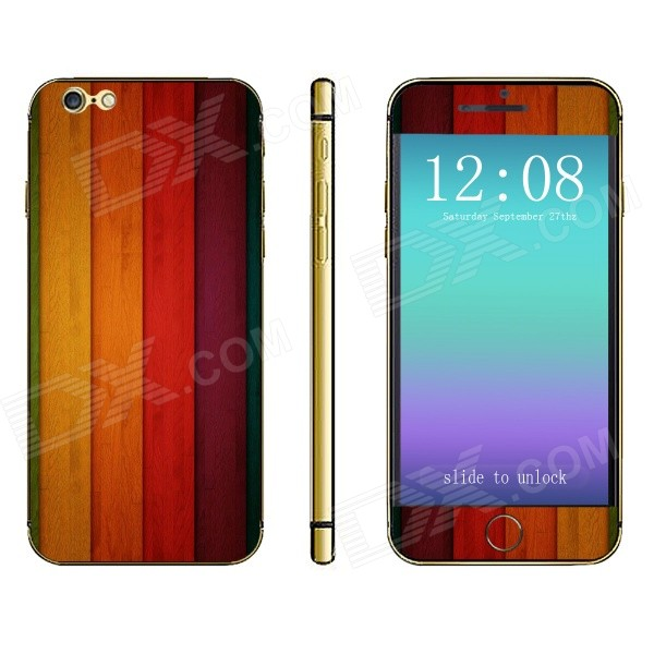 Stylish Strip Pattern Front + Back Decorative Sticker Set for IPHONE 6 4.7 - Multicolored