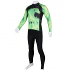 Paladinsport Patterned Long-sleeve Jersey + Pants Set for Cycling - Black + Green (XL)