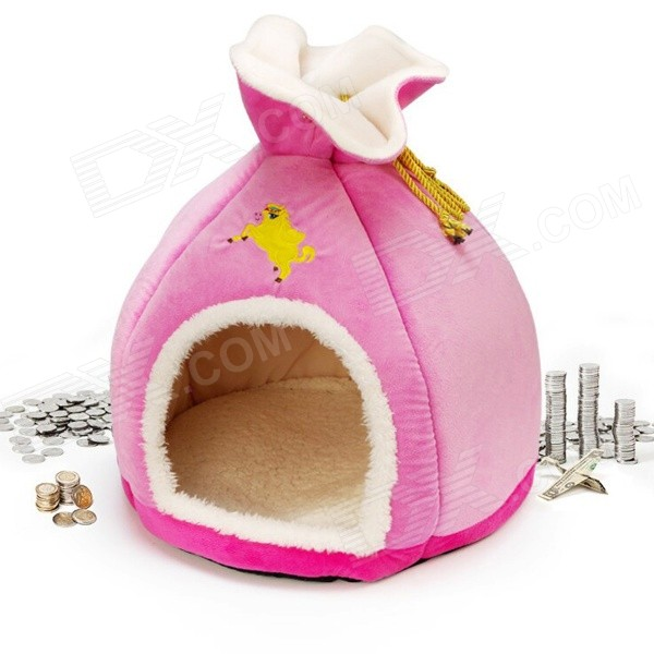 YDL-WA4011-M-2 Fashion Money Bag Style Short Plush + PP Cotton Pet Bed / Nest - Pink + White (M)