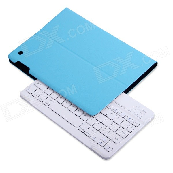 B.O.W Detachable Bluetooth V3.0 Keyboard w/ PU Leather Case for IPAD AIR - Blue + White