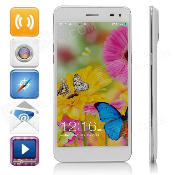 Mpie T6S Quad-Core Android 4.4.2 WCDMA Bar Phone w/ 5.5 HD, 2GB RAM, 4GB ROM, Wi-Fi, GPS - White m pai 809t mtk6582 quad core android 4 3 wcdma bar phone w 5 0 hd 4gb rom gps black