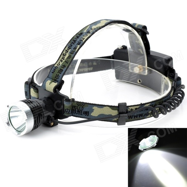 Pange J6 800lm 6500K 3-Mode Cool White Light LED Headlamp - Black + Silver (2 x 18650)