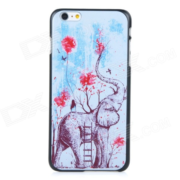 Elephant Pattern Protective Plastic Back Case Cover for IPHONE 6 PLUS - Black + White + Multicolor