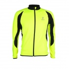 ARSUXEO AR130022 Men's Long-sleeved Zipper Dacron + Lycra Cycling Jersey - Fluorescent Green (L)