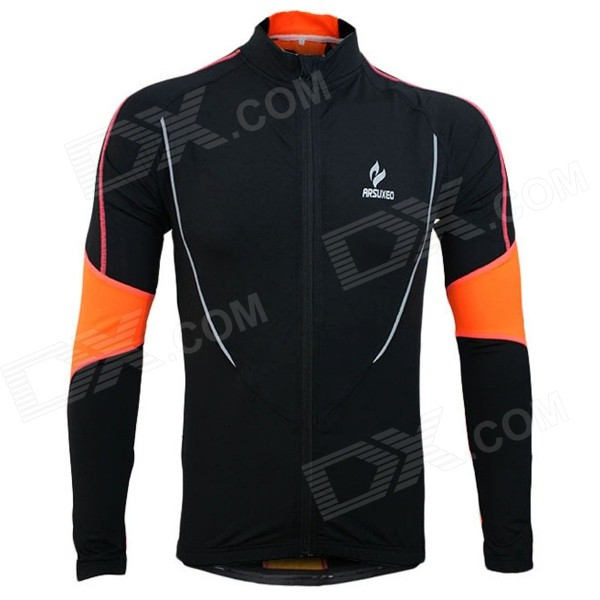 ARSUXEO AR130021 Men's Outdoor Running Cycling Long-sleeved Jersey Top - Black + Orange (XXL) arsuxeo ar608s quick drying cycling polyester jersey for men fluorescent green black l