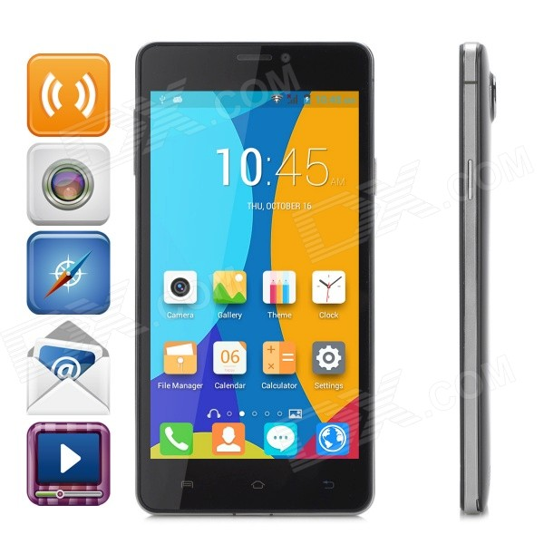 JIAKE V10 5.0 Capacitive Android 4.4.2 Dual-Core 3G Phone w/ 512MB RAM, 4GB ROM, Dual-SIM - Black hummer h5 3g smartphone 4 0 capacitive screen mtk6572 dual core 1 3ghz 512mb 4gb dual sim card waterproof shockproof dustproof gps smart phone unlocked