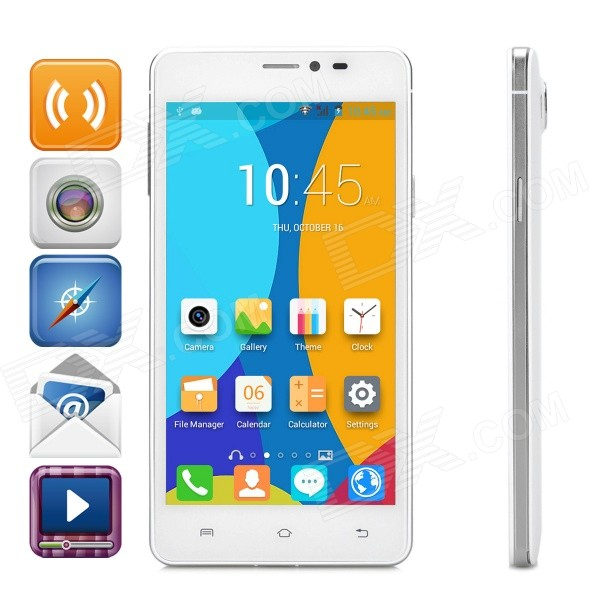 JIAKE V10 5.0 Capacitive Android 4.4.2 Dual-Core 3G Phone w/ 512MB RAM, 4GB ROM, Dual-SIM - White hummer h5 3g smartphone 4 0 capacitive screen mtk6572 dual core 1 3ghz 512mb 4gb dual sim card waterproof shockproof dustproof gps smart phone unlocked