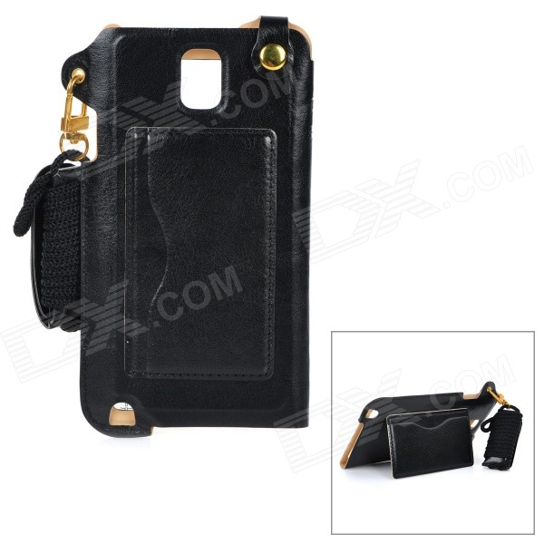 MAX A001 PU Back Case w/ Stand / Card Slot / Strap / Wristband for Samsung Galaxy Note 4 - Black 8x zoom telescope lens back case for samsung i9100 black