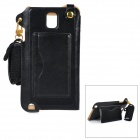 MAX A001 PU Back Case w/ Stand / Card Slot / Strap / Wristband for Samsung Galaxy Note 4 - Black