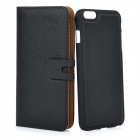 Detachable Protective Flip-Open PU Case w/ Stand + Card / Money Slot for IPHONE 6 PLUS - Black