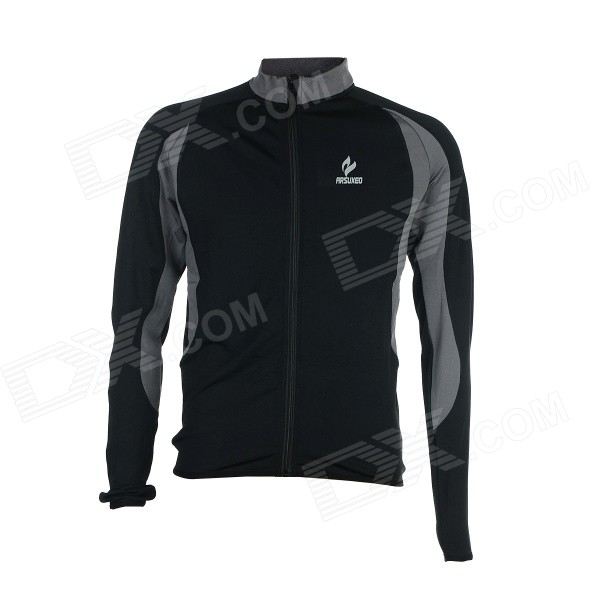 ARSUXEO AR130022 Men's Long-sleeved Warm Zipper Dacron + Lycra Cycling Jersey - Black + Grey (L) Clarksville The prices of things