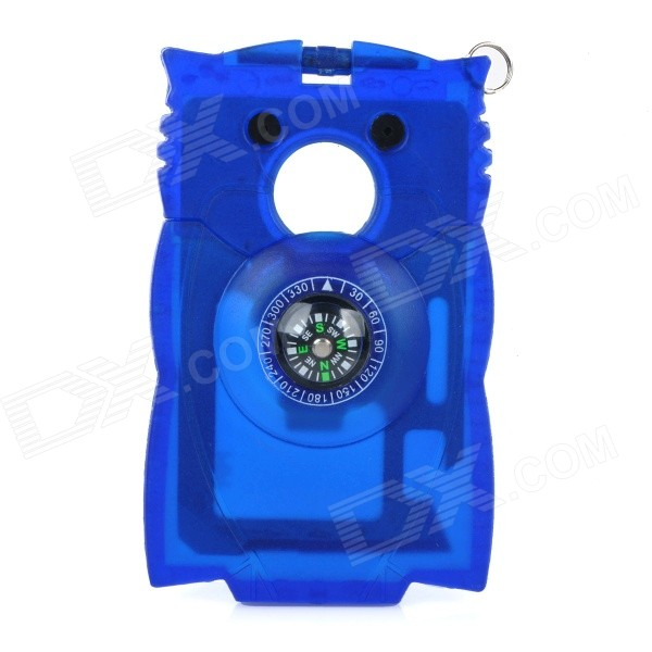 Owl Style Multifunctional Outdoor Survival Card Size Pocket Tool w/ Compass - Blue + Silver