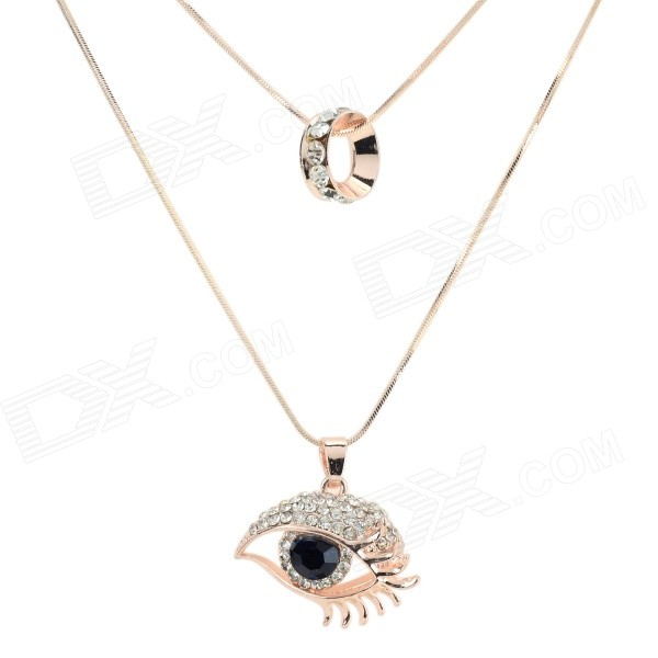 Women's Fashionable Eye Shaped Sweater Pendant Necklace - Golden + Black punk eye shaped pendant women men s necklace