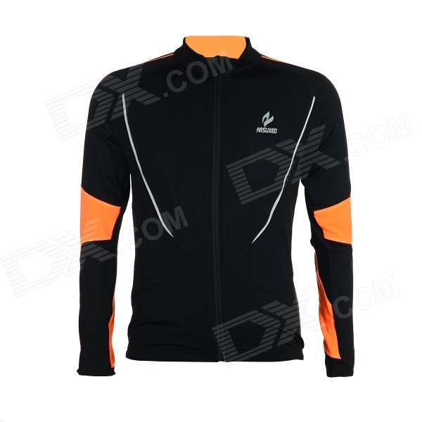 ARSUXEO AR130021 Men's Running Cycling Sports Elastic Long-sleeved Jersey Top - Orange + Black (M) arsuxeo ar608s quick drying cycling polyester jersey for men fluorescent green black l