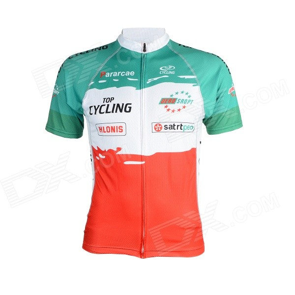 TOPCYCLING SAD210 Sweat-absorbing Quick-dry Short-sleeved Zipper Top for Cycling - Red + Green (M)