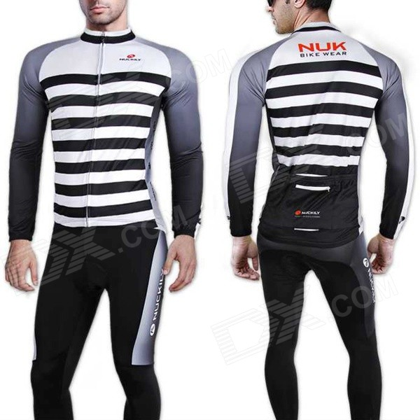 NUCKILY CJ123 CK123 Outdoor Cycling Long-Sleeved Jersey + Long Pants Set - White + Black (L)
