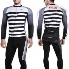NUCKILY CJ123 CK123 Outdoor Cycling Long-Sleeved Jersey + Long Pants Set - White + Black (XL)