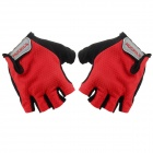 NUCKILY PC03 Ciclismo Lycra luvas metade do dedo - Red (L / Par)