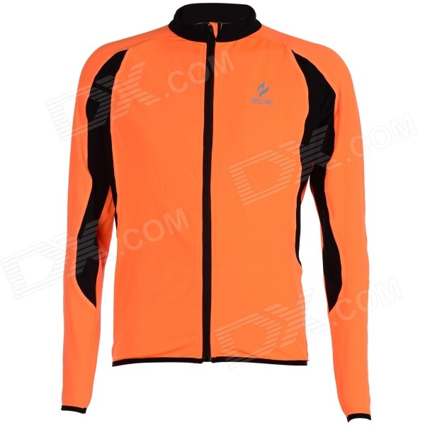 ARSUXEO AR130022 Men's Outdoor Running Cycling Long-Sleeved Jersey - Orange + Black (L) arsuxeo ar608s quick drying cycling polyester jersey for men fluorescent green black l