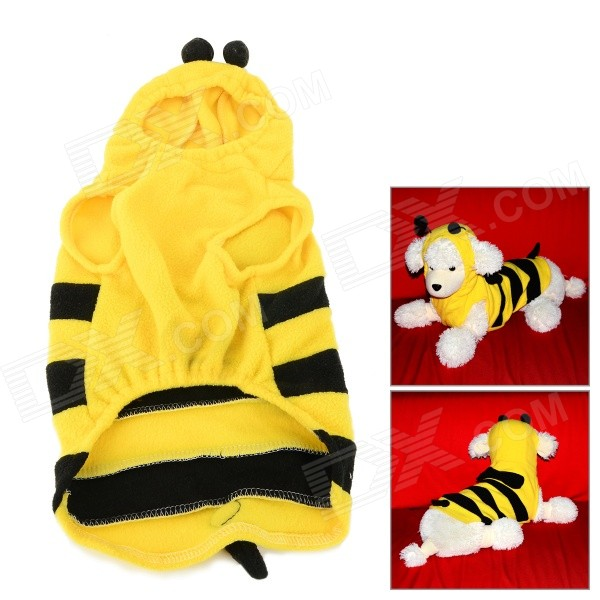 JUQI Cute Bee Style Fleeces Coat for Pet Cat / Dog - Black + Yellow (L) bee style cotton coat hoody for pet dog yellow brown black m