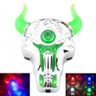 Rechargable Bull LED Laser Bicycle Tail Light Warning Lamp for Mountain Bike - Silver + Green