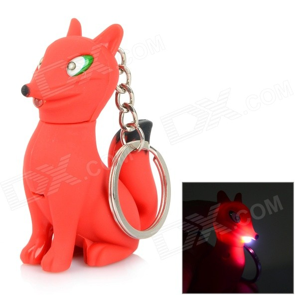 Fox-shaped LED White Light Keychain w/ Sound Effect - White + Red (3 x AG10) dinosaur style led purple light keychain w sound effect green white 3 x ag10