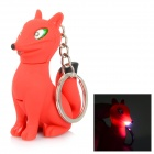 Fox-shaped LED White Light Keychain w/ Sound Effect - White + Red (3 x AG10)