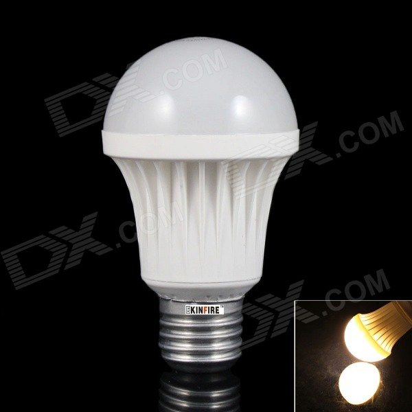 KINFIRE T-7WW E27 7W 500lm 3500K 12-SMD 3528 LED Warm White Light Bulb - White (AC 220~240V)