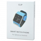 "CP100 1.54 ""Screen Clip-On GSM Watch Phone w / Canvas Band Bluetooth, krokoměr - Black + Silver"