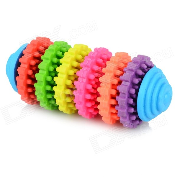 Sliding Gear Style 6-Color TPR Teeth Grinding Toy for Pet Cat / Dog - Blue + Orange