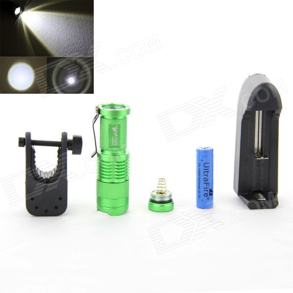 UltraFire SK68 350lm 1-Mode Cool White Zoomable LED Flashlight Set - Green (1 x 14500)