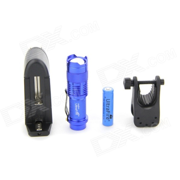UltraFire SK68 LED 350lm 1-Mode Cool White Zoomable Flashlight Set - Blue (1 x 14500)