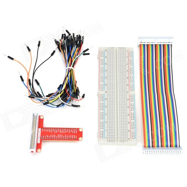 T-type GPIO Expansion Board + Breadboard + Cable Set for Raspberry Pi B+ - Red + White