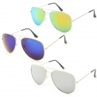 OULAIOU Fashion Zinc Alloy Frame Resin Lens UV400 Sunglasses Set - Blue + Silver + Yellow (3 PCS)