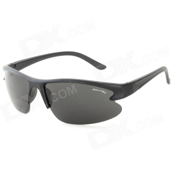 OULAIOU Men's Outdoor Cycling Windproof Insect-proofing PC Lens UV400 Sunglasses - Black + Grey