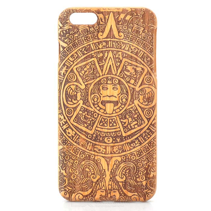 Maya Totem Pattern Detachable Protective Wood Back Case for IPHONE 6 Plus - Brown аксессуар чехол stone age jungle collection wood skin для iphone 6 plus кожа brown w8582
